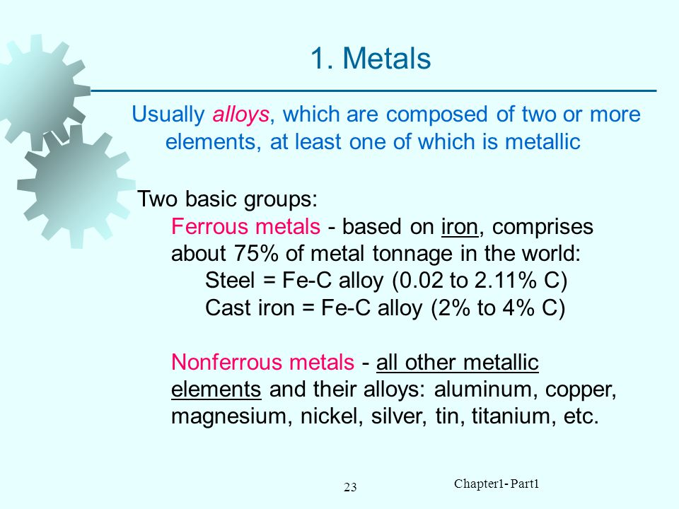 1. Metals Usually alloys, which are composed of two or more elements, at least one of which is metallic.