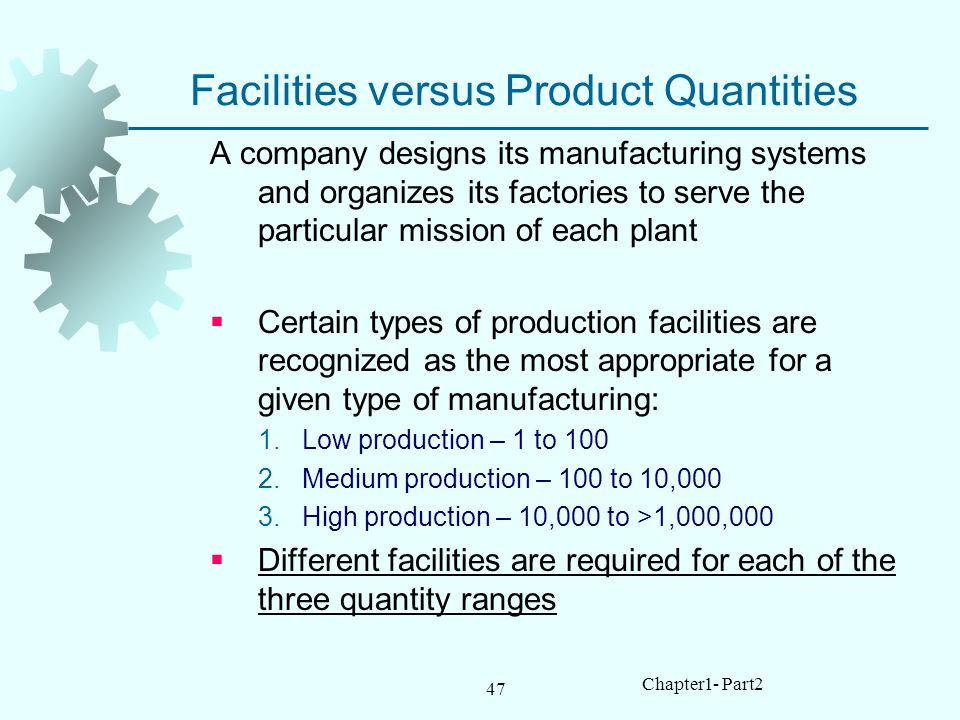 Facilities versus Product Quantities