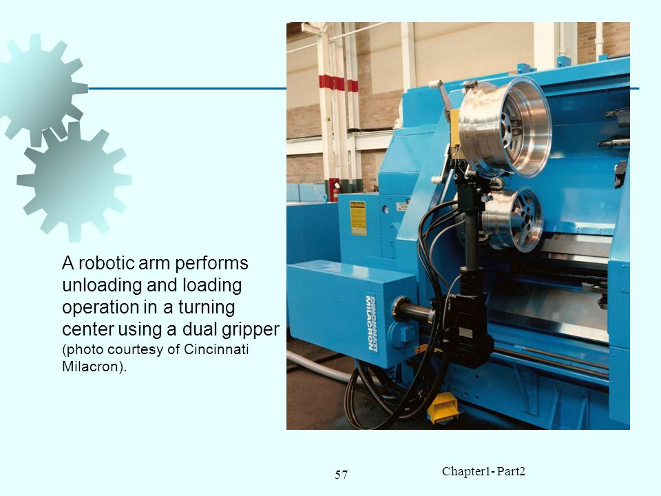 A robotic arm performs unloading and loading operation in a turning center using a dual gripper (photo courtesy of Cincinnati Milacron).