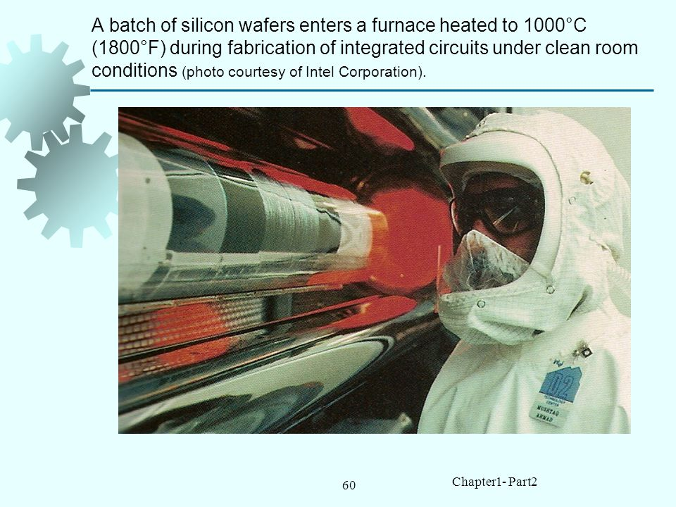 A batch of silicon wafers enters a furnace heated to 1000°C (1800°F) during fabrication of integrated circuits under clean room conditions (photo courtesy of Intel Corporation).