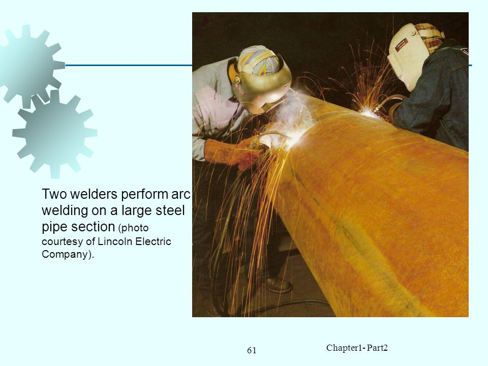 Two welders perform arc welding on a large steel pipe section (photo courtesy of Lincoln Electric Company).