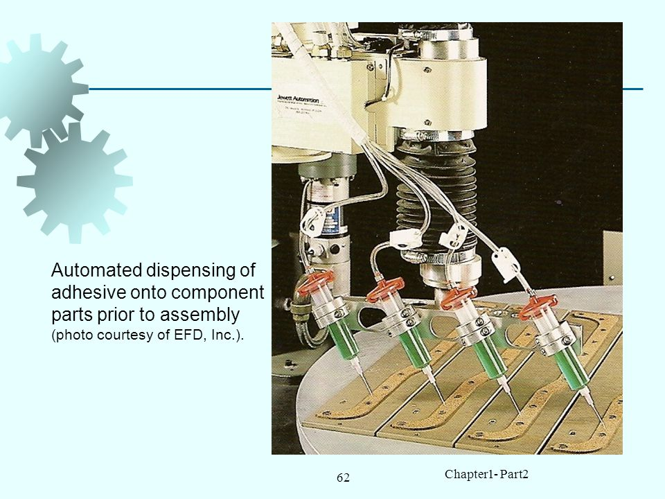 Automated dispensing of adhesive onto component parts prior to assembly (photo courtesy of EFD, Inc.).