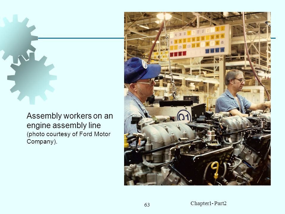 Assembly workers on an engine assembly line (photo courtesy of Ford Motor Company).