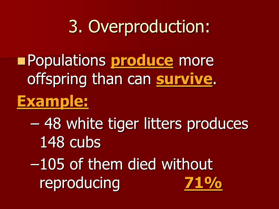3. Overproduction: Populations produce more offspring than can survive. Example: 48 white tiger litters produces 148 cubs.
