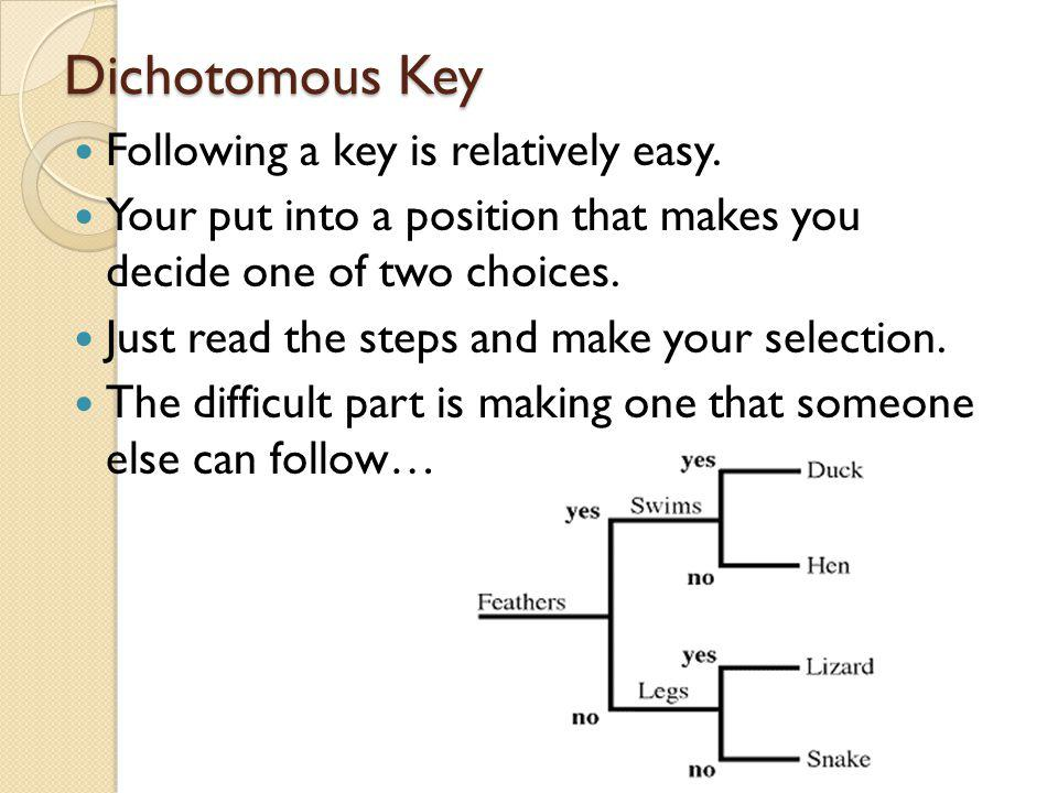 Dichotomous Key Following a key is relatively easy.