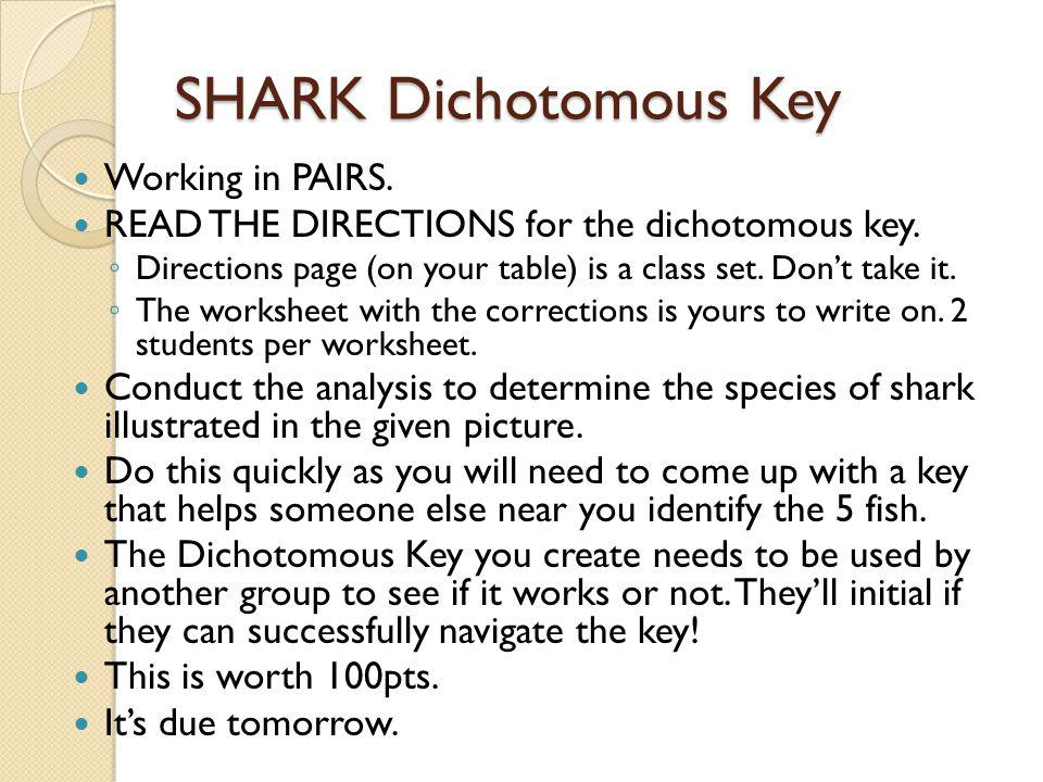 SHARK Dichotomous Key Working in PAIRS.