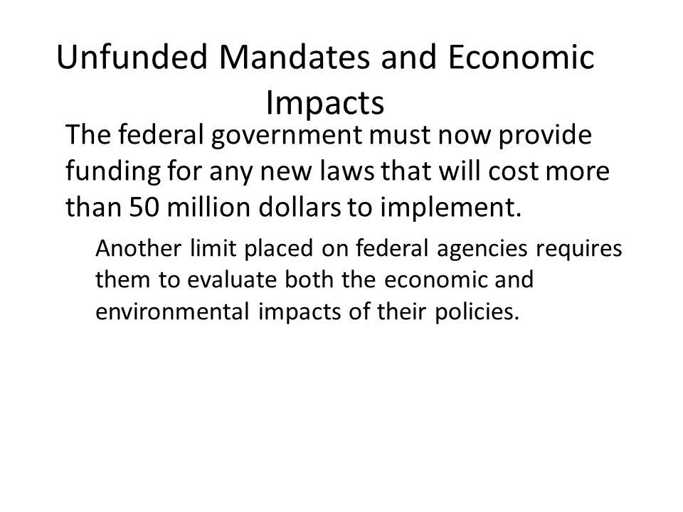 Unfunded Mandates and Economic Impacts