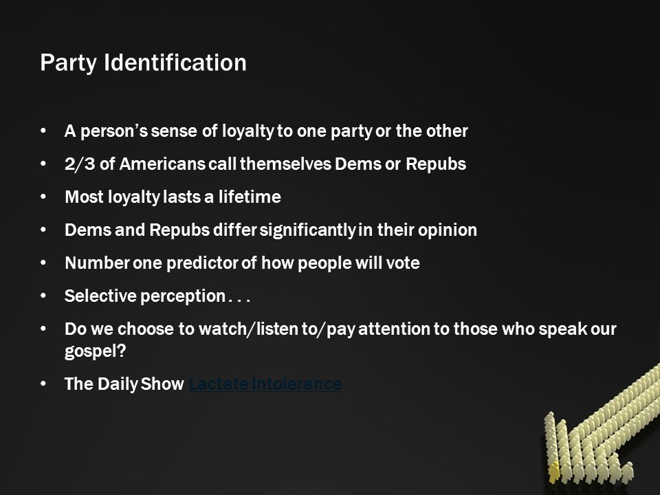 Party Identification A person's sense of loyalty to one party or the other. 2/3 of Americans call themselves Dems or Repubs.