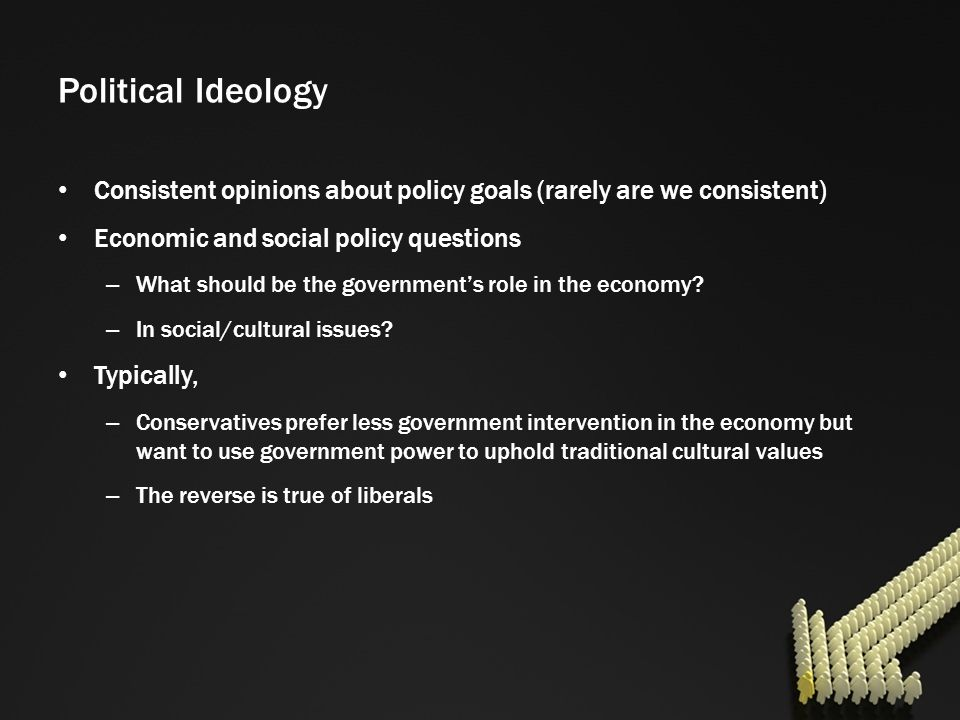 Political Ideology Consistent opinions about policy goals (rarely are we consistent) Economic and social policy questions.