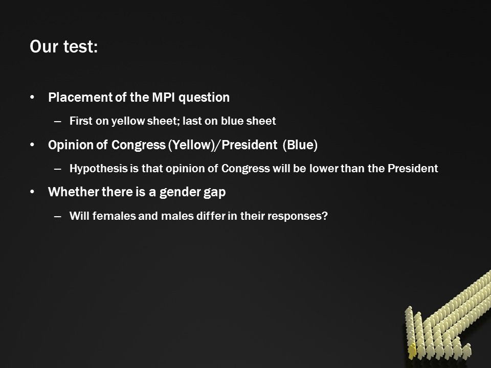 Our test: Placement of the MPI question