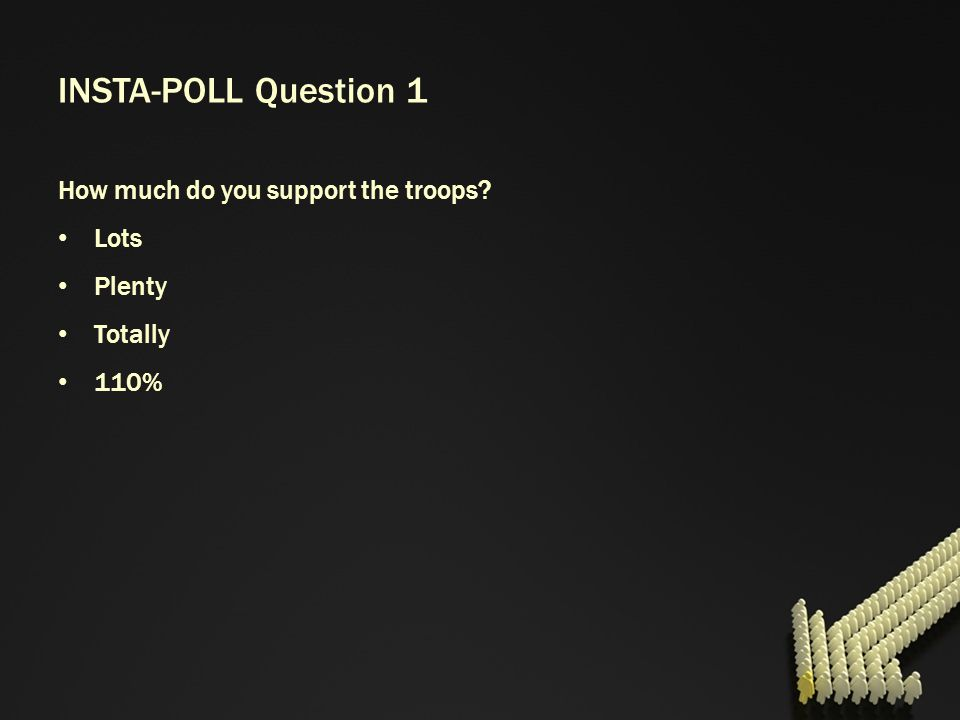 INSTA-POLL Question 1 How much do you support the troops Lots Plenty