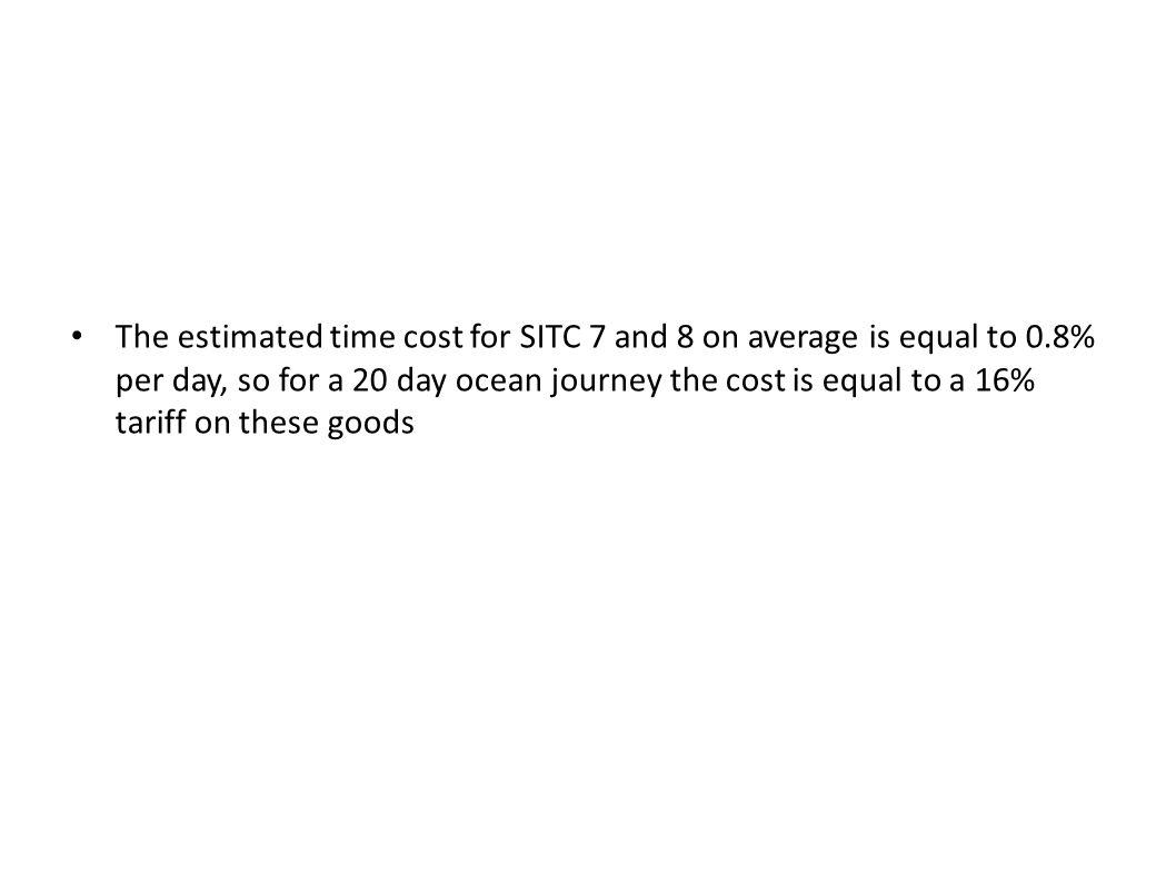 The estimated time cost for SITC 7 and 8 on average is equal to 0