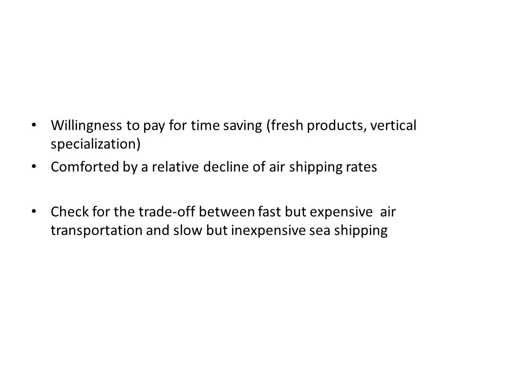 Willingness to pay for time saving (fresh products, vertical specialization)