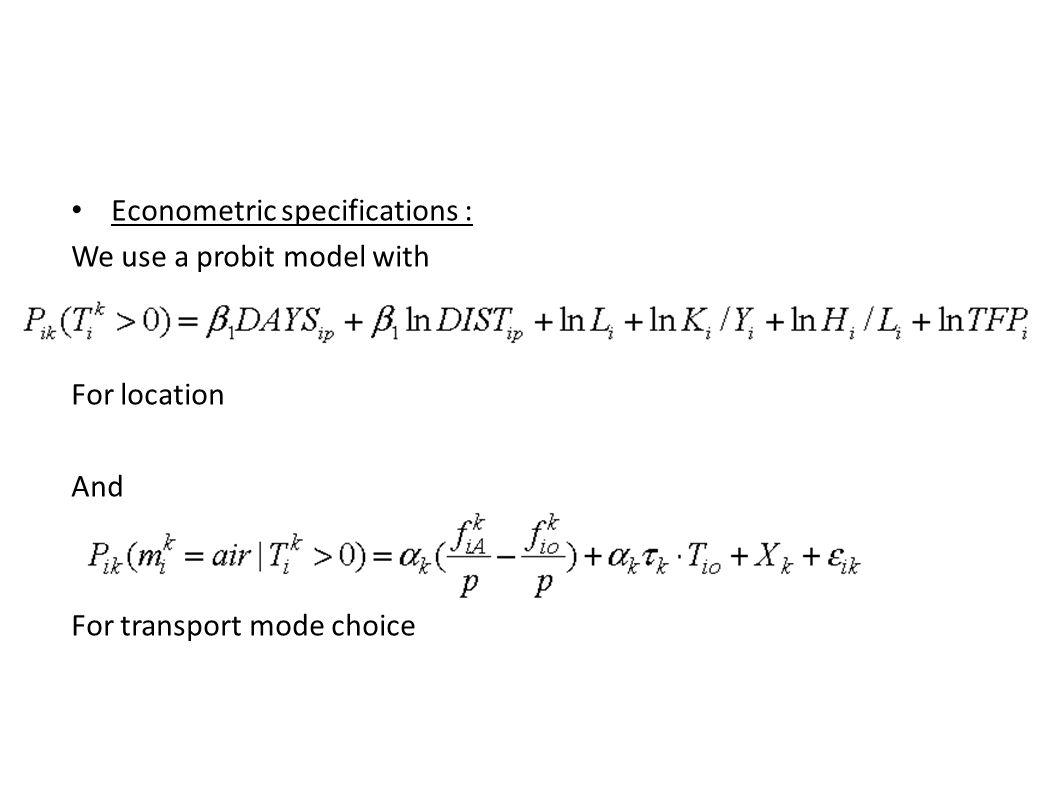 Econometric specifications :