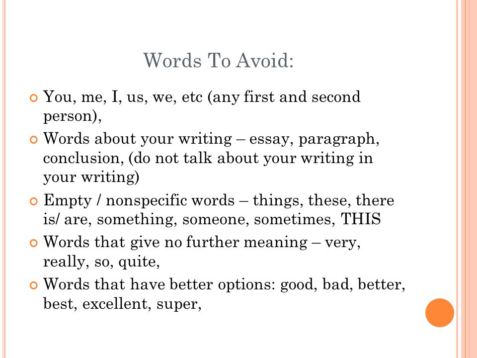words to avoid when writing a formal essay Kind guide in which i gently usher the reader through the essay-writing process  we, you, they, argh, argh, argh  avoid we in formal writing.