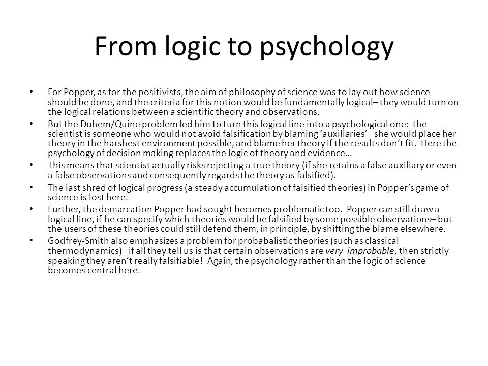 From logic to psychology