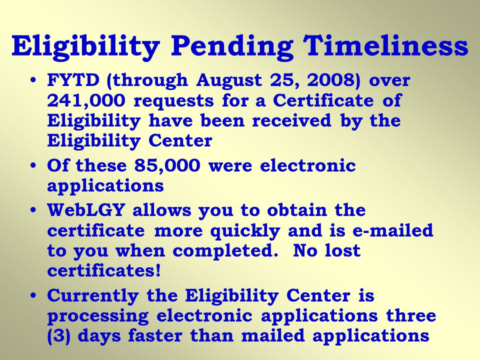 Eligibility Pending Timeliness
