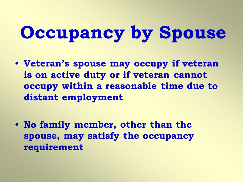 Occupancy by Spouse
