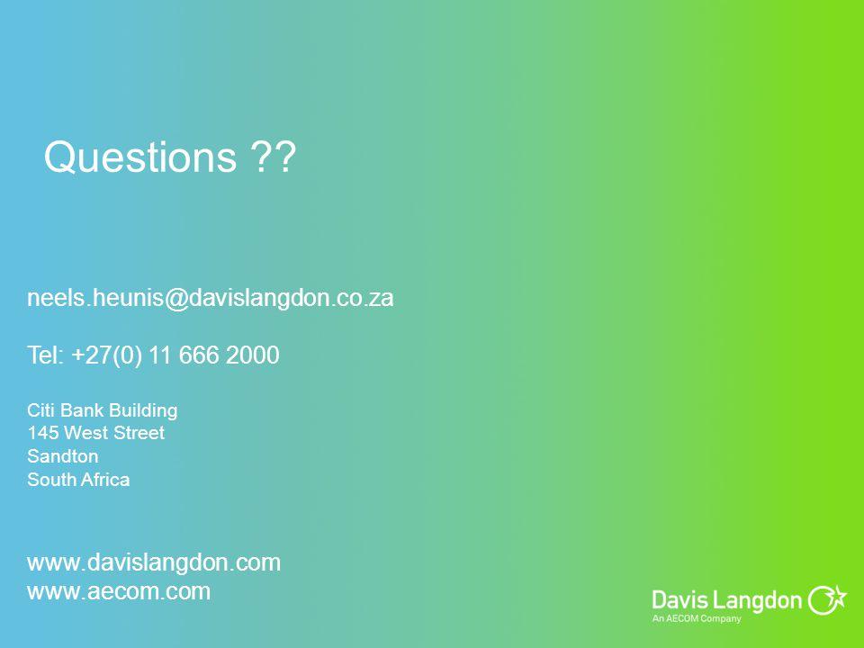 Questions neels.heunis@davislangdon.co.za Tel: +27(0) 11 666 2000