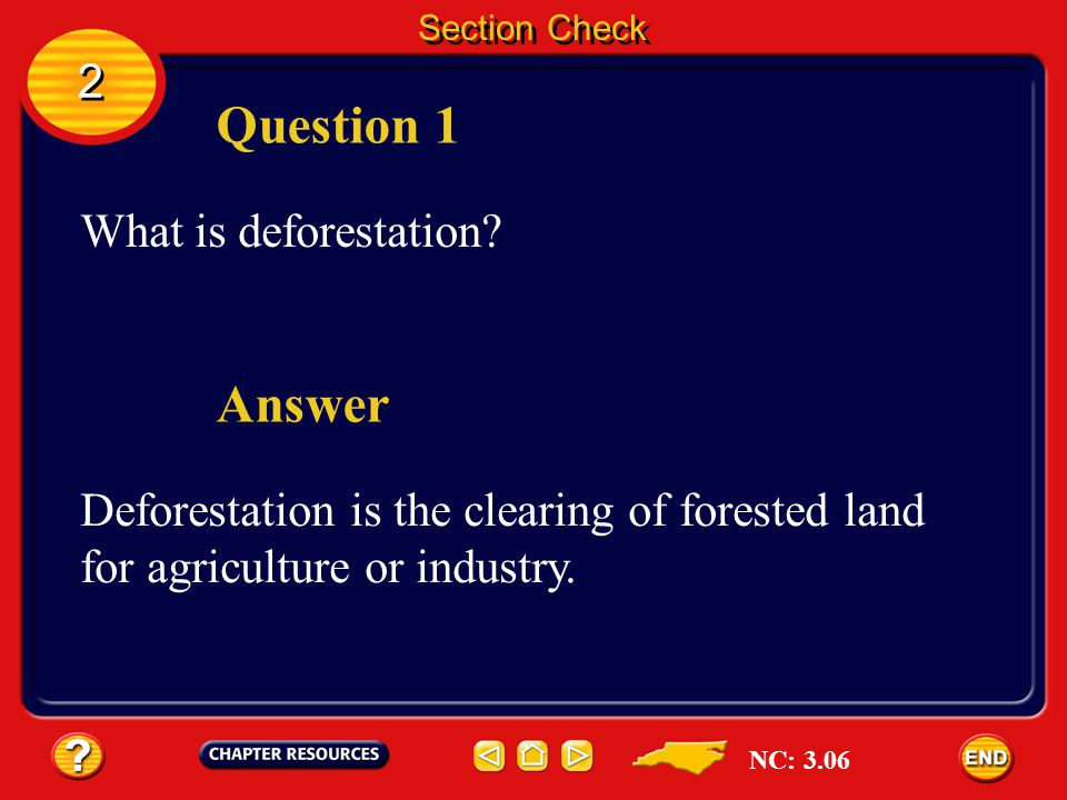 Question 1 Answer 2 What is deforestation