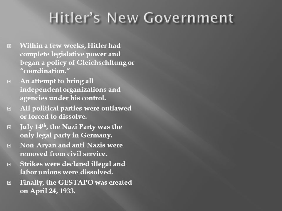 Hitler's New Government