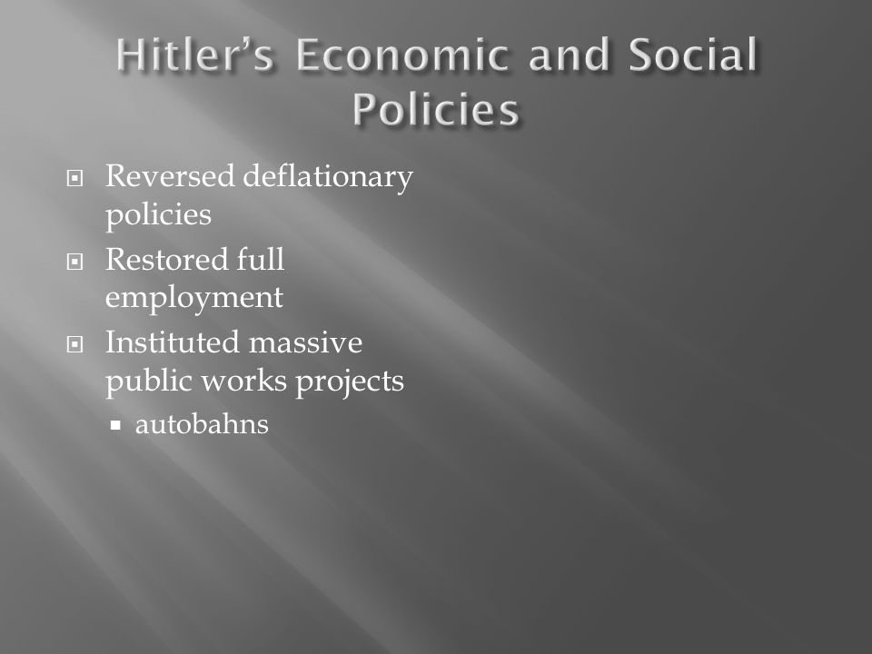 Hitler's Economic and Social Policies