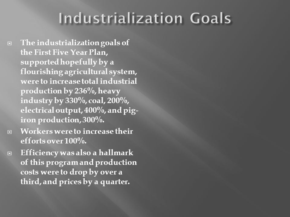 Industrialization Goals