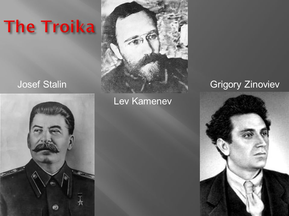 The Troika Josef Stalin Grigory Zinoviev Lev Kamenev