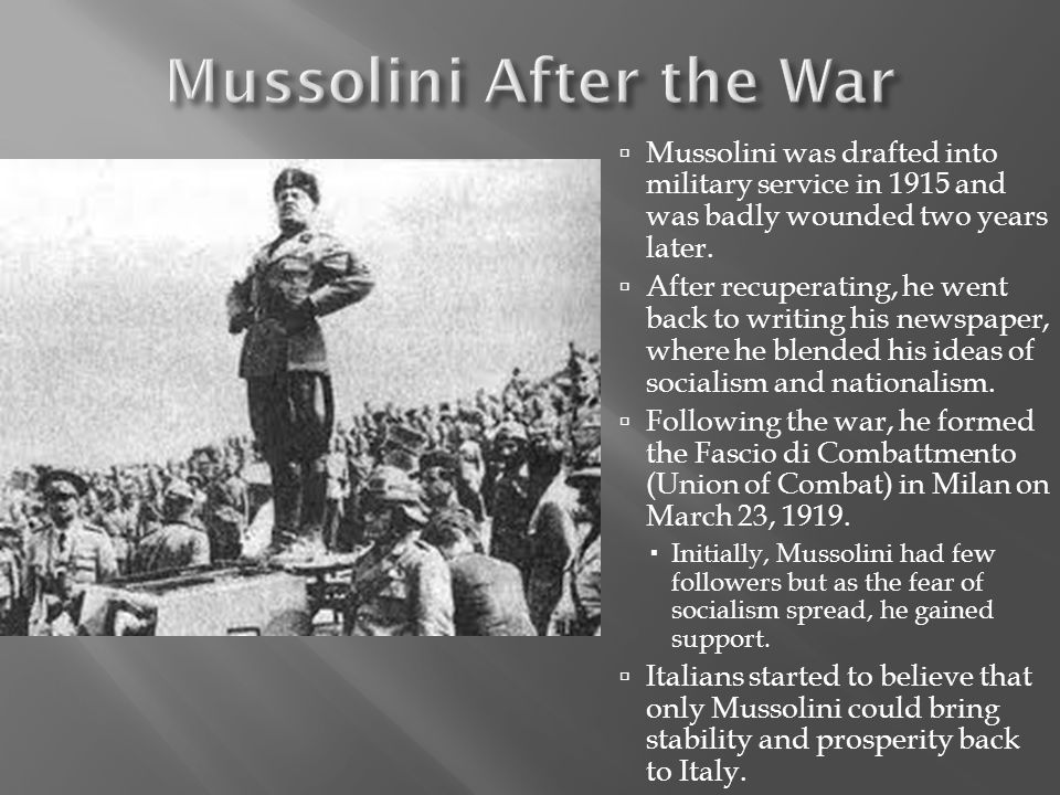 Mussolini After the War