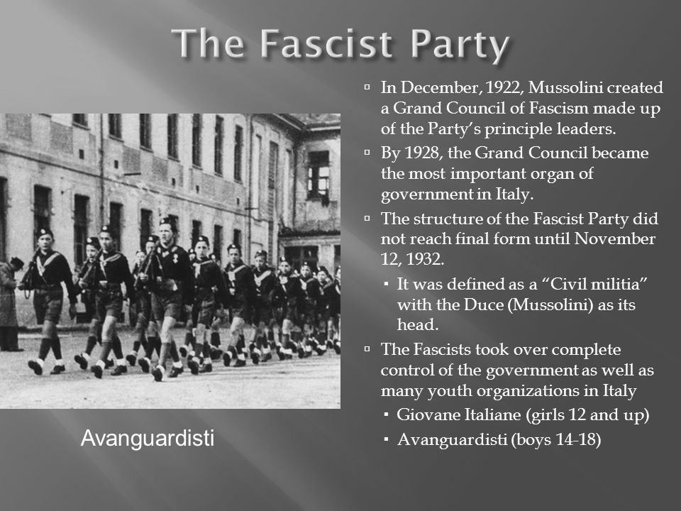 The Fascist Party Avanguardisti