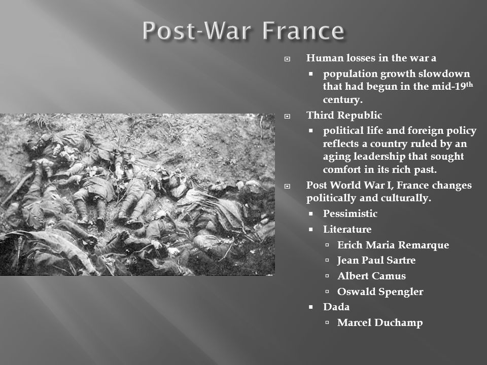 Post-War France Human losses in the war a