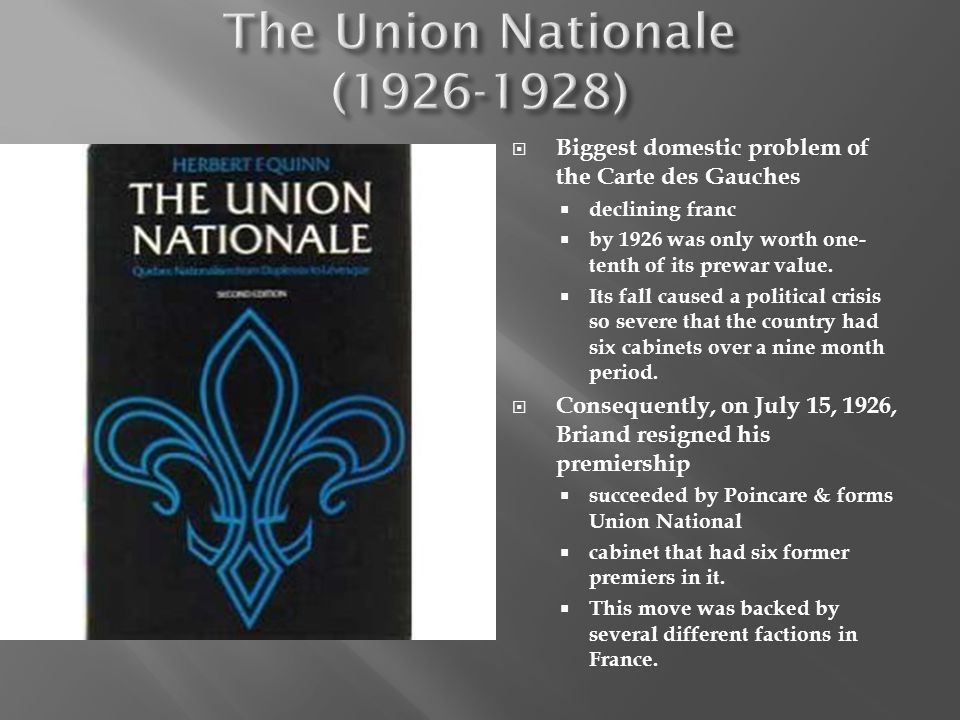 The Union Nationale (1926-1928)