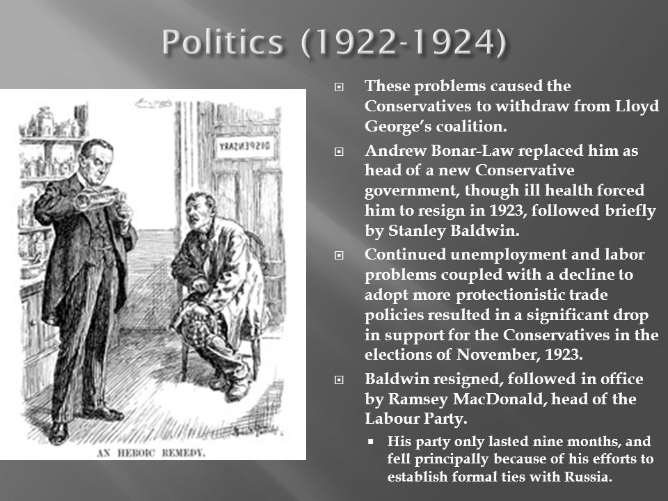 Politics (1922-1924) These problems caused the Conservatives to withdraw from Lloyd George's coalition.
