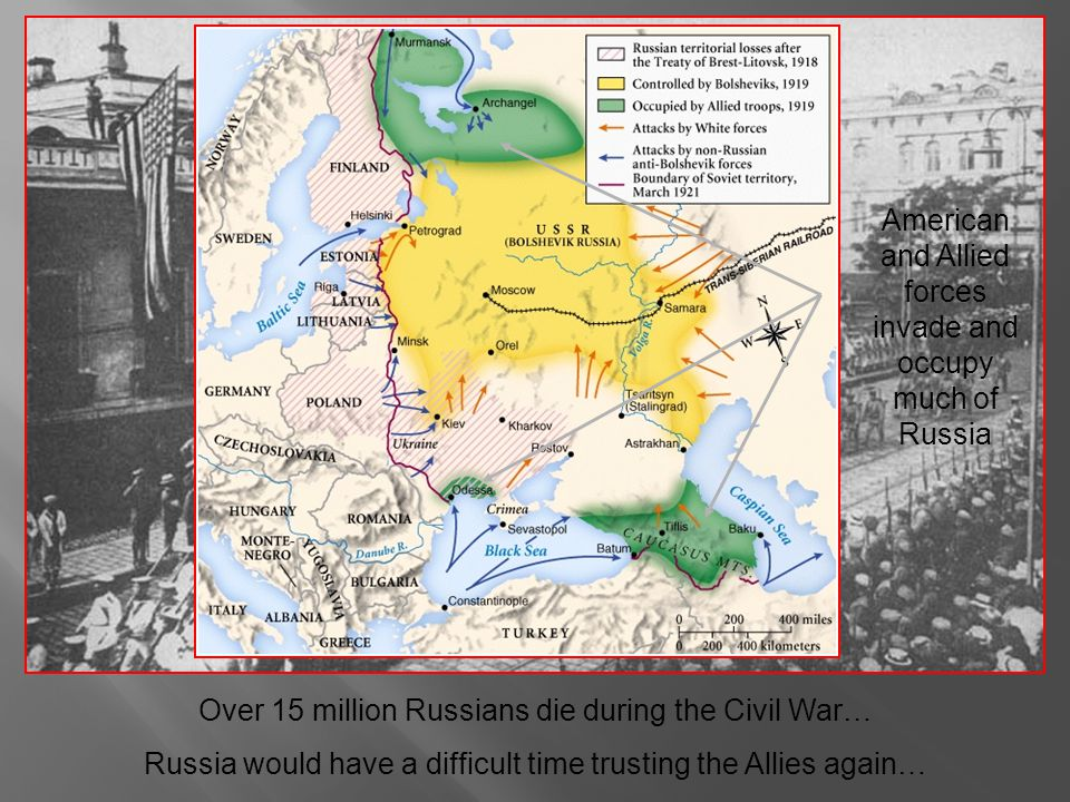 American and Allied forces invade and occupy much of Russia