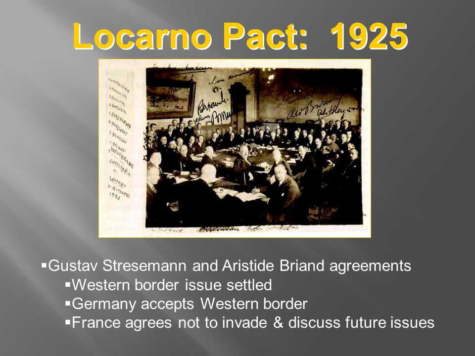 Locarno Pact: 1925 Gustav Stresemann and Aristide Briand agreements