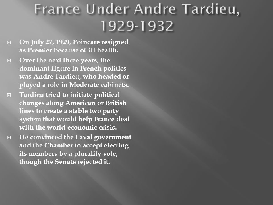 France Under Andre Tardieu, 1929-1932