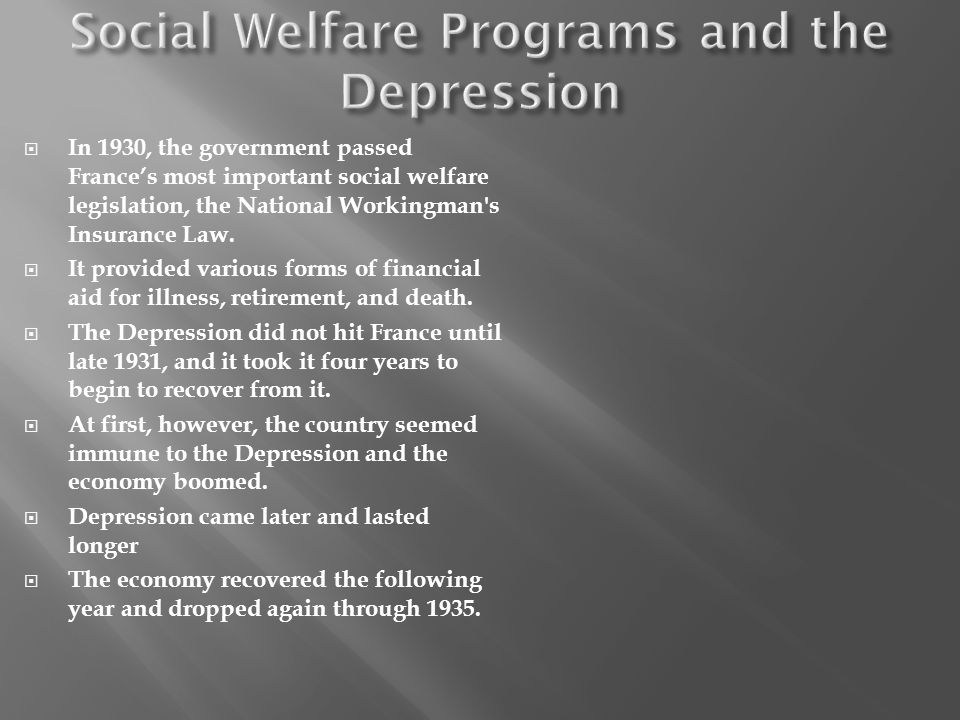 Social Welfare Programs and the Depression