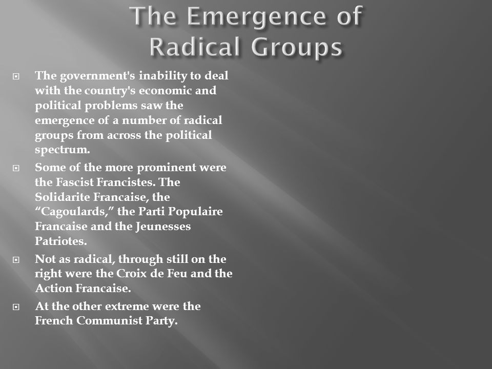 The Emergence of Radical Groups