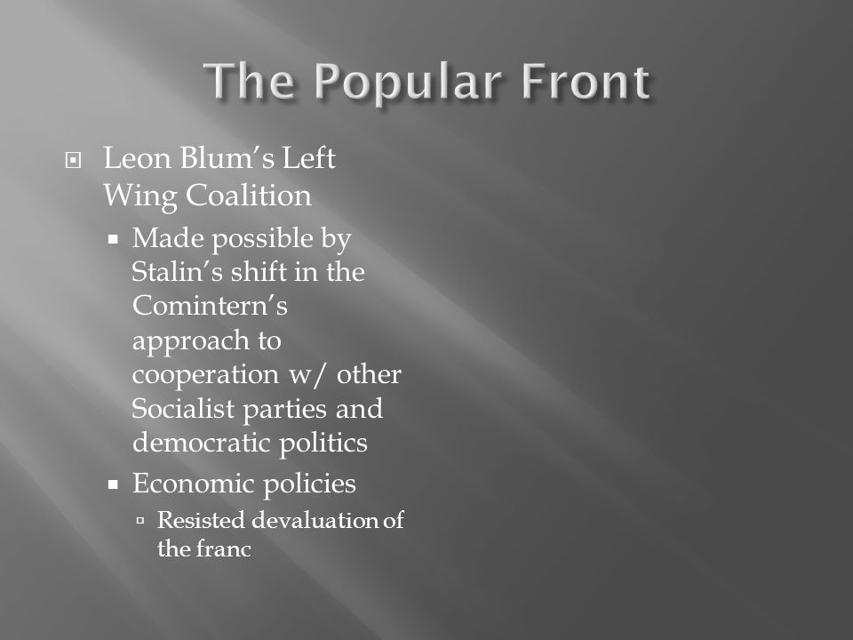 The Popular Front Leon Blum's Left Wing Coalition