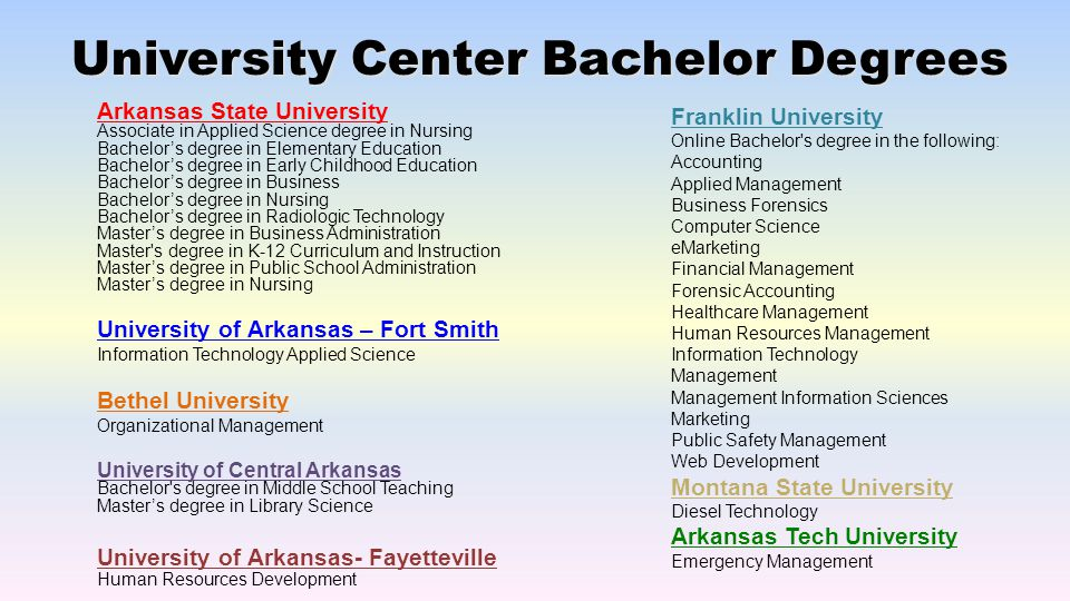 University Center Bachelor Degrees