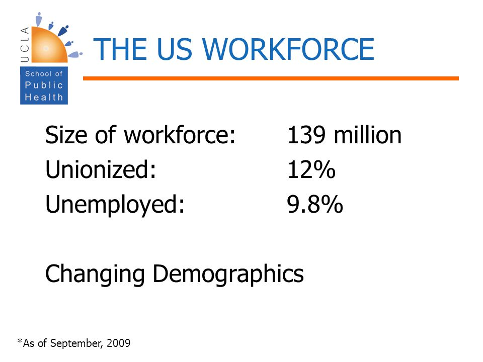 THE US WORKFORCE Size of workforce: 139 million Unionized: 12%