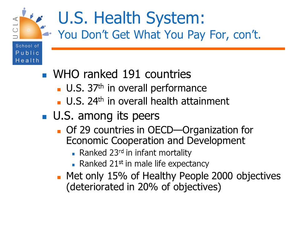 U.S. Health System: You Don't Get What You Pay For, con't.