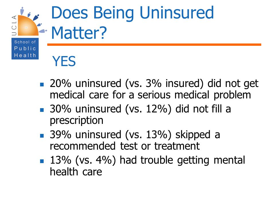 Does Being Uninsured Matter
