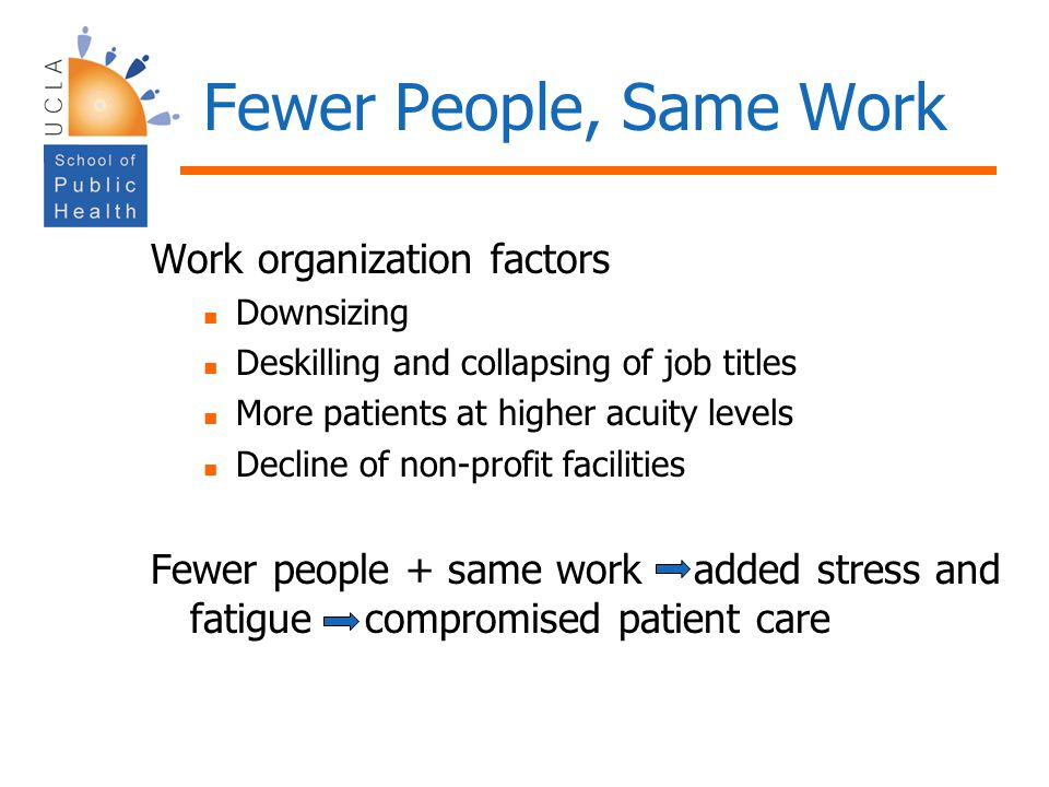 Fewer People, Same Work Work organization factors