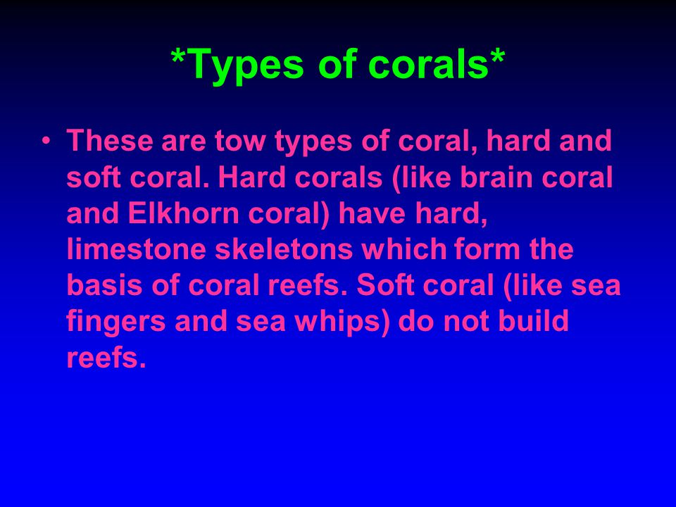 *Types of corals*