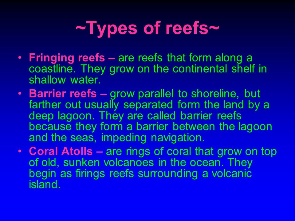 ~Types of reefs~ Fringing reefs – are reefs that form along a coastline. They grow on the continental shelf in shallow water.