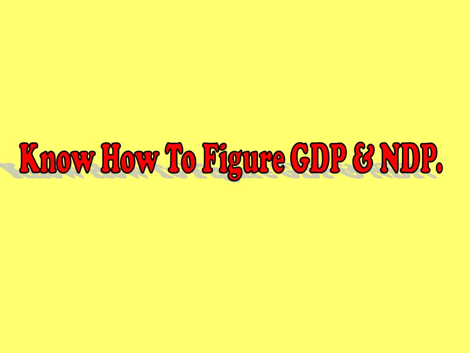 Know How To Figure GDP & NDP.