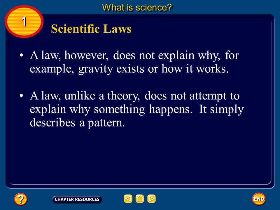 What is science 1. Scientific Laws. A law, however, does not explain why, for example, gravity exists or how it works.