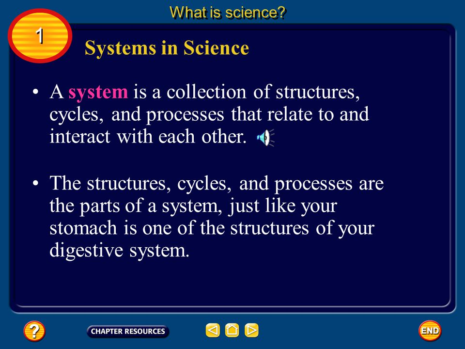 What is science 1. Systems in Science. A system is a collection of structures, cycles, and processes that relate to and interact with each other.