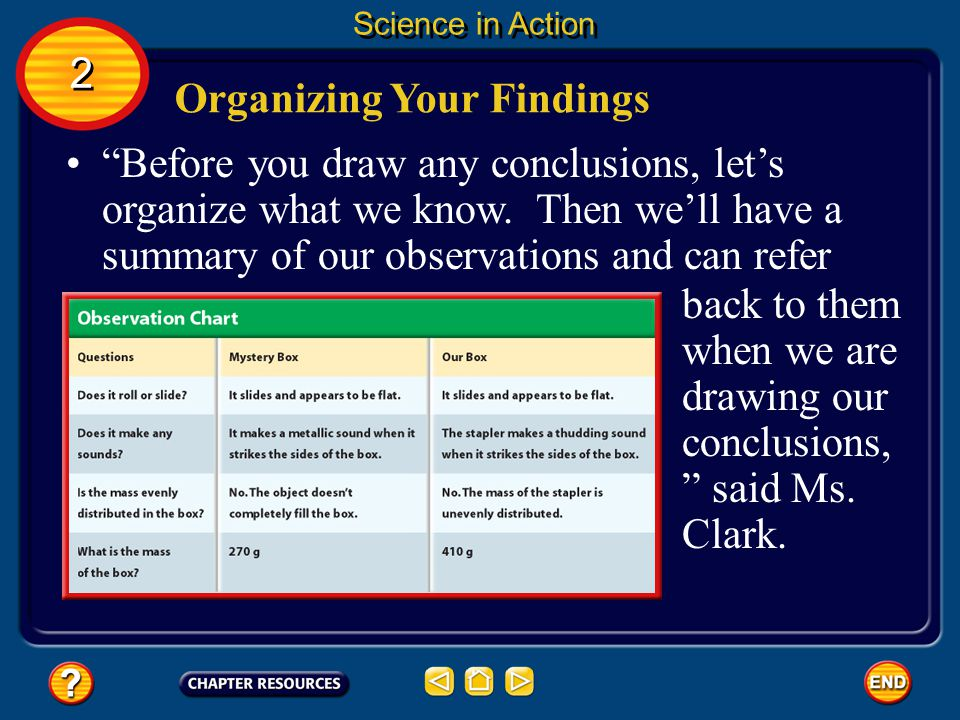 Organizing Your Findings